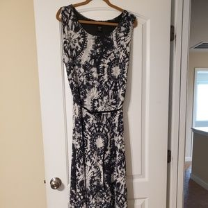Navy and white tie dye maxi with patent belt